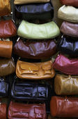 Display of leather purses — Stock Photo