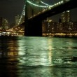 Brooklyn Bridge by twilight - Stock Photo