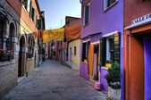 Street scene in Burano Italy — Stock Photo