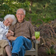 Elderly man and woman sitting on a bench — Stock Photo