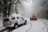 Auto accident in the snow — Stock Photo