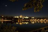 Distant view of Charles Bridge and Prague Castle at Night — Stock Photo