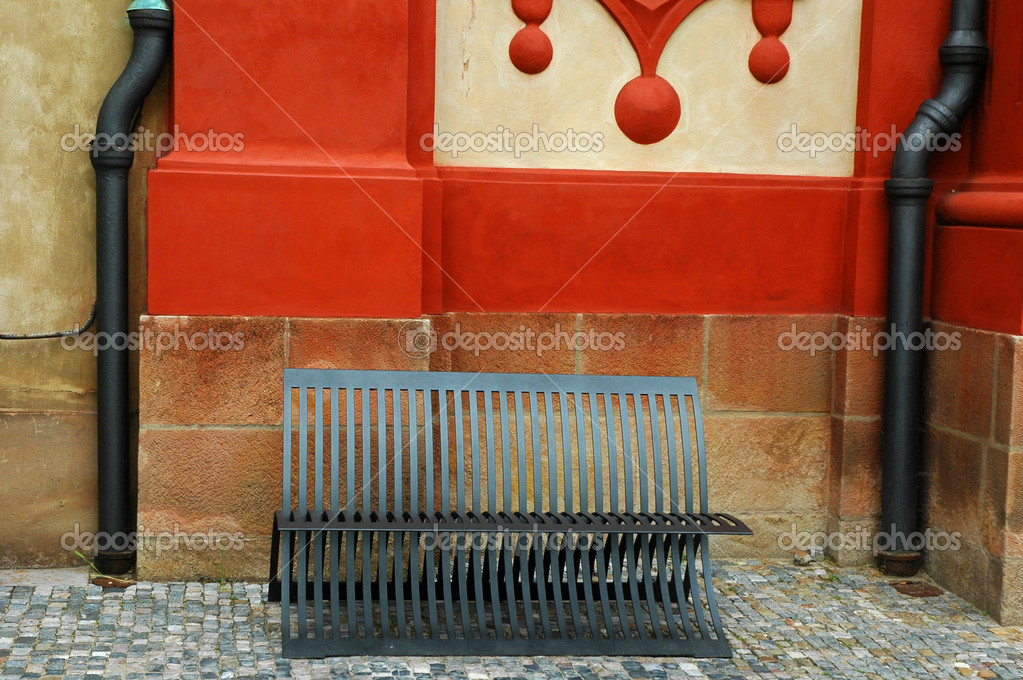 Modern bench situated in area near Prague Castle.  Mix of old and new. — Stock Photo #10266736