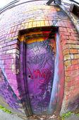 Graffiti Entrance Fisheyed — Stock Photo