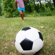 Girl Playing Soccer - Foto Stock