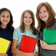 Teenage Girls On White Background - Stock Photo