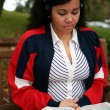 Teenager Studying Outside — Foto de Stock