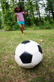 Girl Playing Soccer — Stock Photo