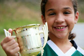 Girl With Trophy — Stok fotoğraf