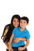 Woman and Son On White Background — Stock Photo
