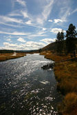 Flyfishing River Skyscape — Stock Photo