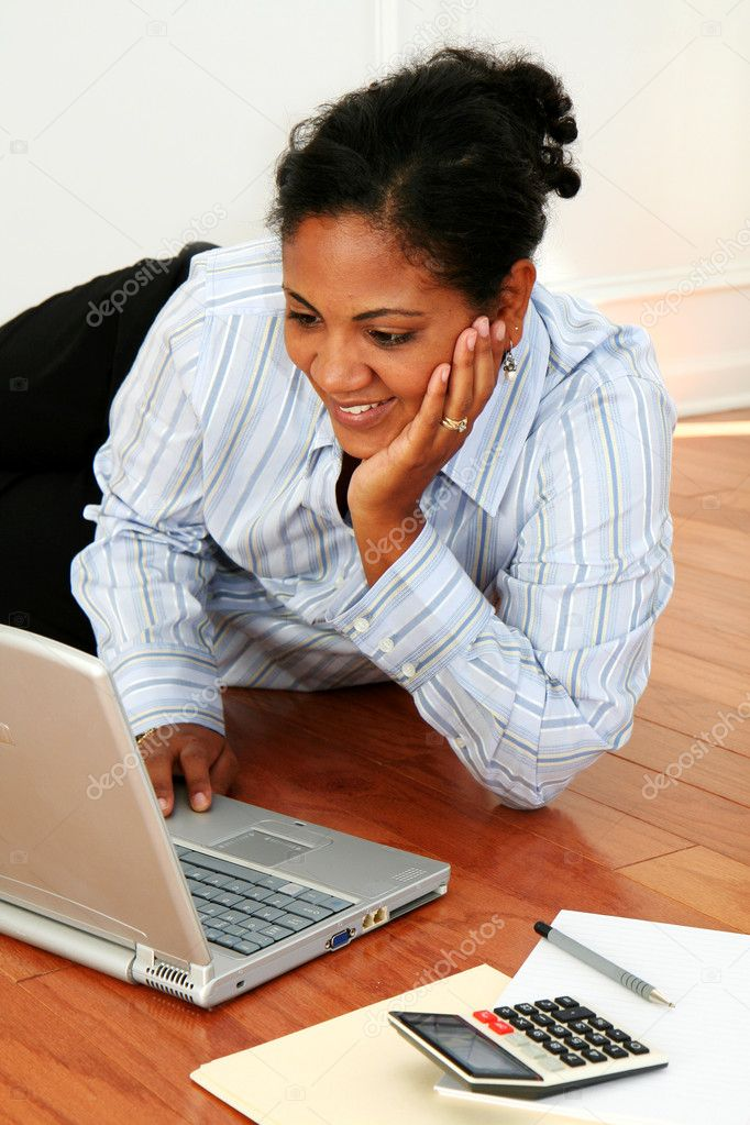 Minority woman working from home — Stock Photo #10000870