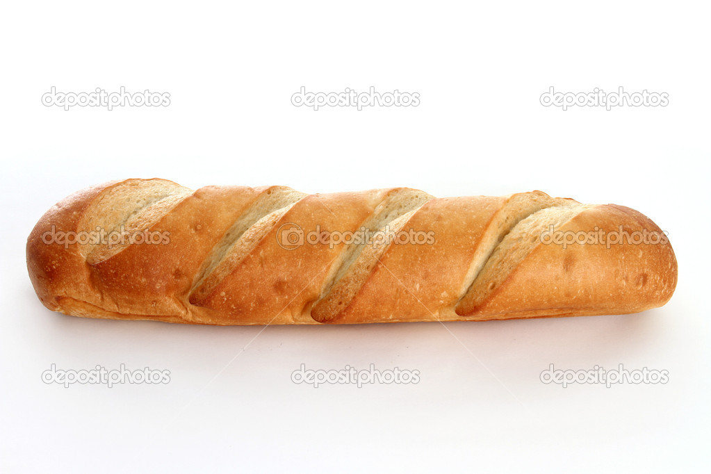 White Bread Loaf French Bread Loaf on a White