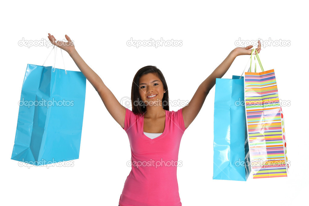 Teen girl shopping with bags on white background — Stock Photo #10105864
