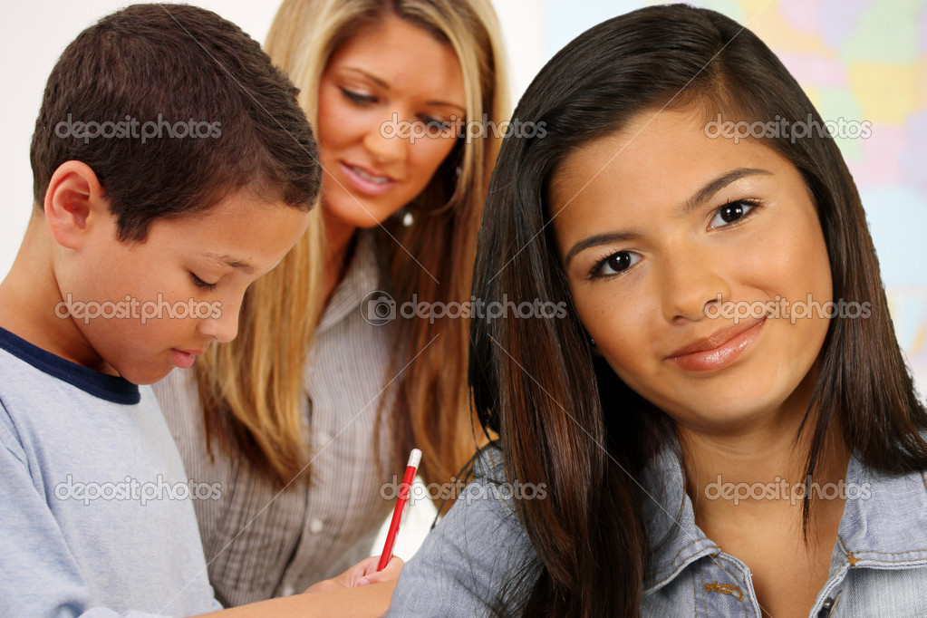 Students And A Teacher At Their School — Stock Photo #10545994