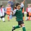 Young Girl Playing Soccer — Stock Photo