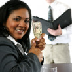 Businesswoman With Money — Stock Photo #9997979
