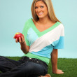 Woman With Apple — Stock Photo #9998933