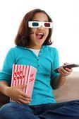 Child watching movie — Stock Photo