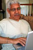 Senior On Computer — Stock Photo