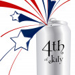 4th of July can — Imagen vectorial
