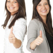 Stock Photo: Portrait of two businesswomen showing thumbs up