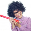 Funny schoolgirl with a big pen — Stock Photo