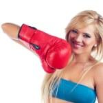 Photo of young wonderful woman wearing boxing glove — Stock Photo