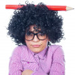 Funny schoolgirl with a big pen - Foto de Stock