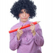 Funny schoolgirl with a big pen — Stock Photo #9975388