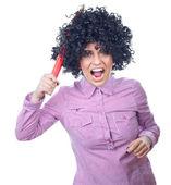 Studentessa divertente con una penna grande — Foto Stock