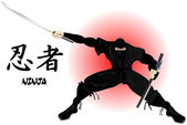 Ninja with katana — Stock Vector