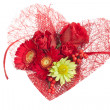 Stock Photo: Heart Flowers over white
