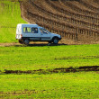 White Car on Green Field — Stock Photo