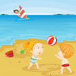 Kids playing at beach — Stock Vector