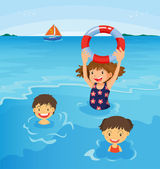 Beach kids — Stock Vector
