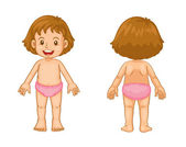 Toddler front and back — Stock Vector