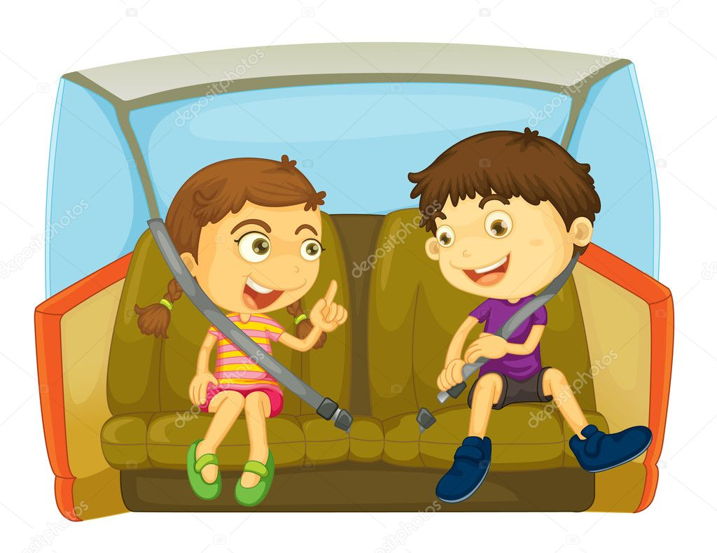 Cartoon of kids in a car — Stock Vector #10032399
