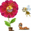 Flower pot and insects — Stock Vector