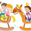 Stock Vector: Kids playing toy-horse