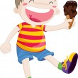 Royalty-Free Stock Vector Image: Boy with icecream in hand
