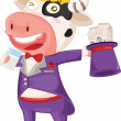Royalty-Free Stock Imagen vectorial: Cow with milk bag and glass