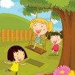 Cartoon illustration of kids in the park - Stock Vector