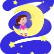 Stock Vector: Girl sitting on moon