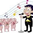 Boy and pigs — Stock Vector