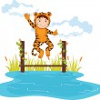 Kid in tiger dressup — Stock Vector