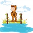 Stock Vector: Kid in tiger dressup