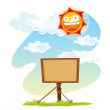 Noticeboard and sun - Stock Vector