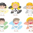 Kids in karate dress — Stock Vector