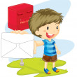 Boy showing envelop — Stock Vector #10115157